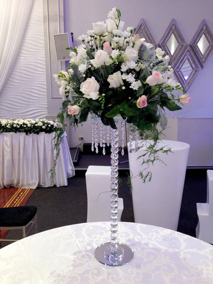 Large Fresh flower Arrangement on Crystal stand