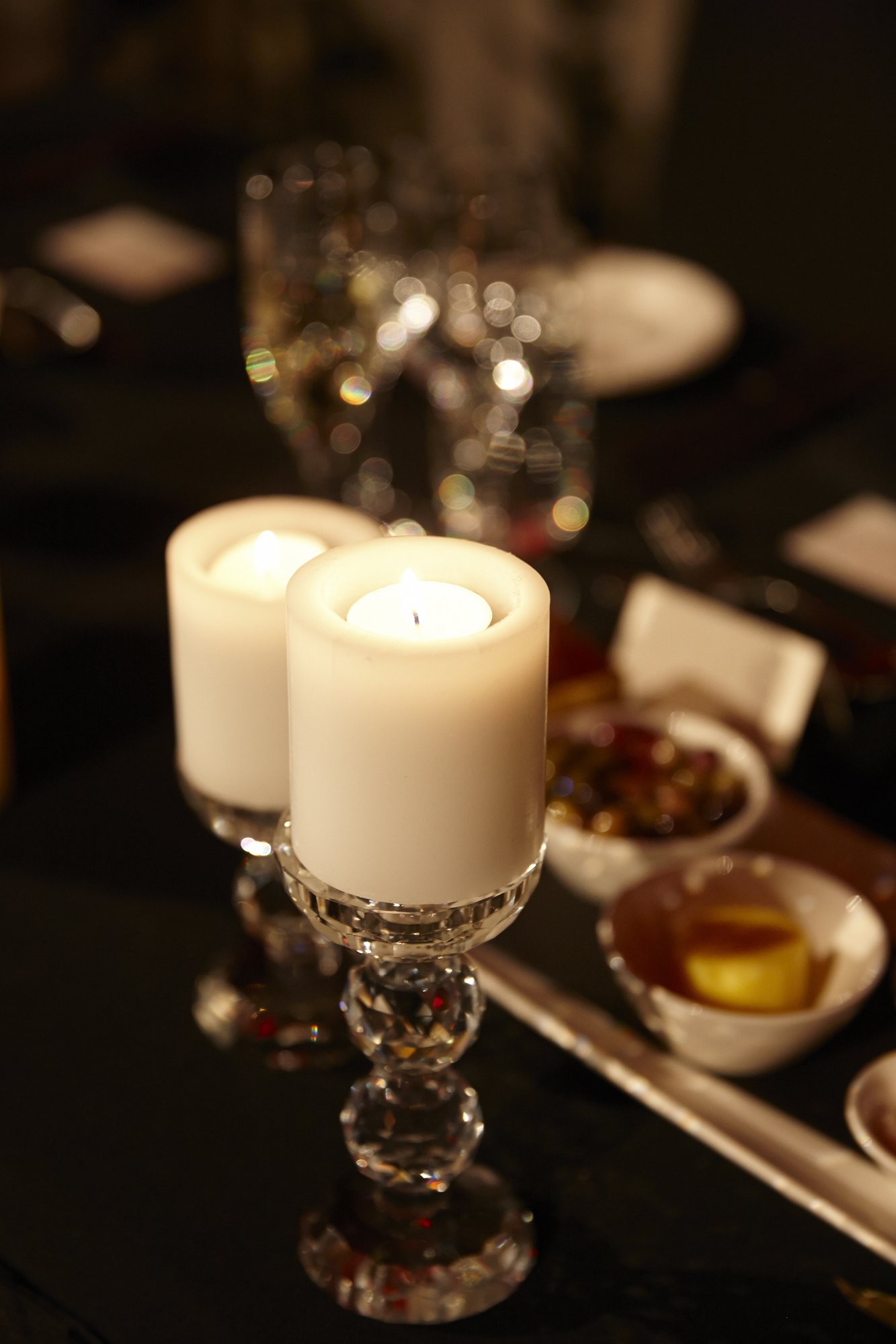 Led Pillar candles on Swarovski Crystal diamond cut holders