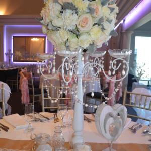 Shabby Chic Vintage White 5 arm candelabra with fresh flower arrangement