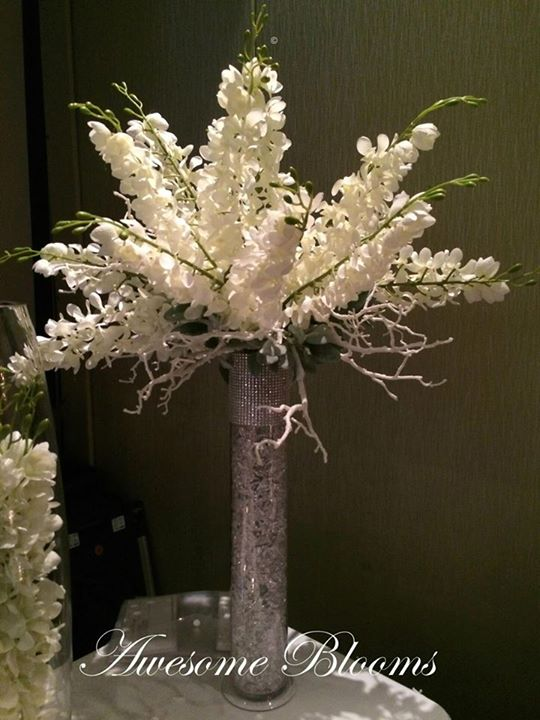 White Manzanita Branches in Cylinder Vase with artifcial Orchids