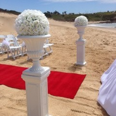 White Urn and Pedestal with large white flower topper 1