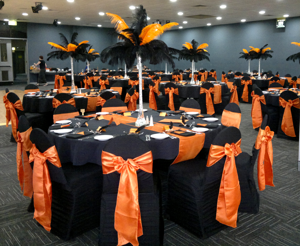Black Pleated Designer Chair Cover with Orange Satin Sash