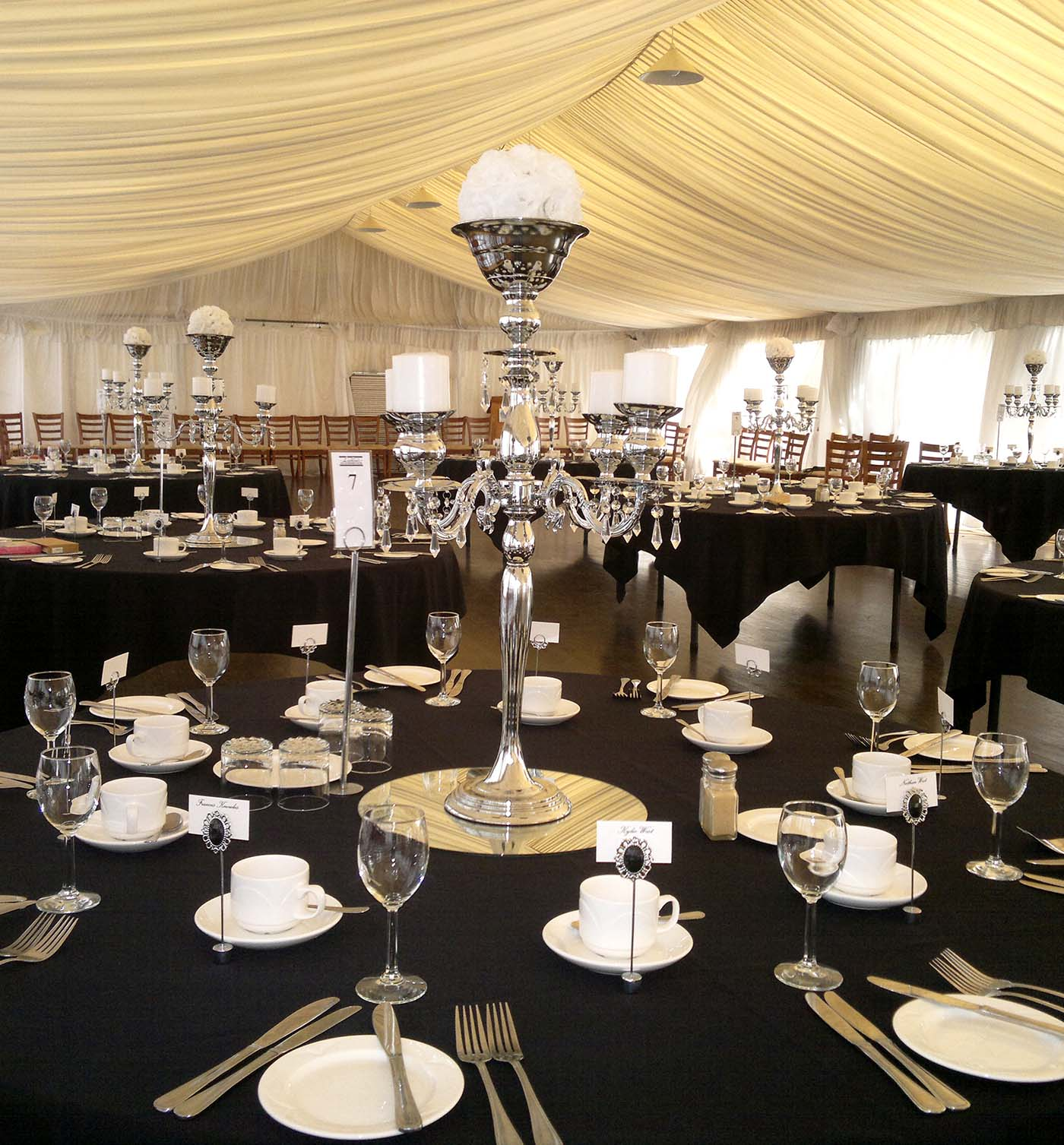 Chrome 5 arm Candelabra at Lachlans Old Government House Parramatta Park, Marquee