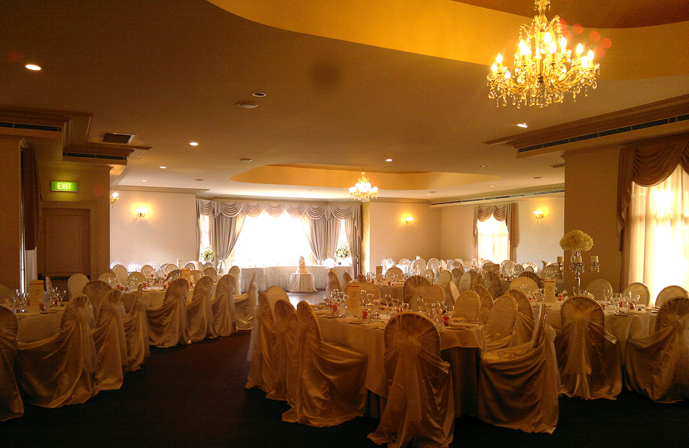 Satin Ivory Universal Chair Cover at Eschol Park House, QVB Room
