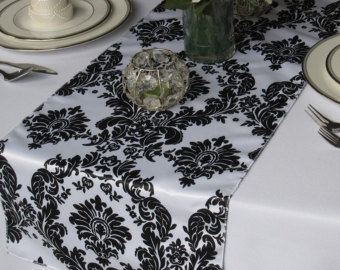 Black and White Damask table runner 1