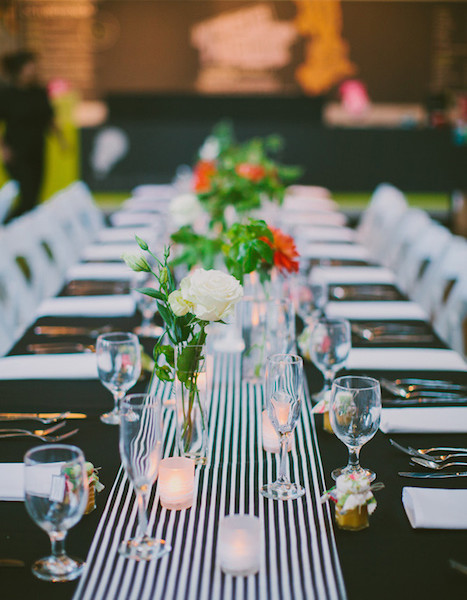 Black and White Satin Racing Stripe Table Runner