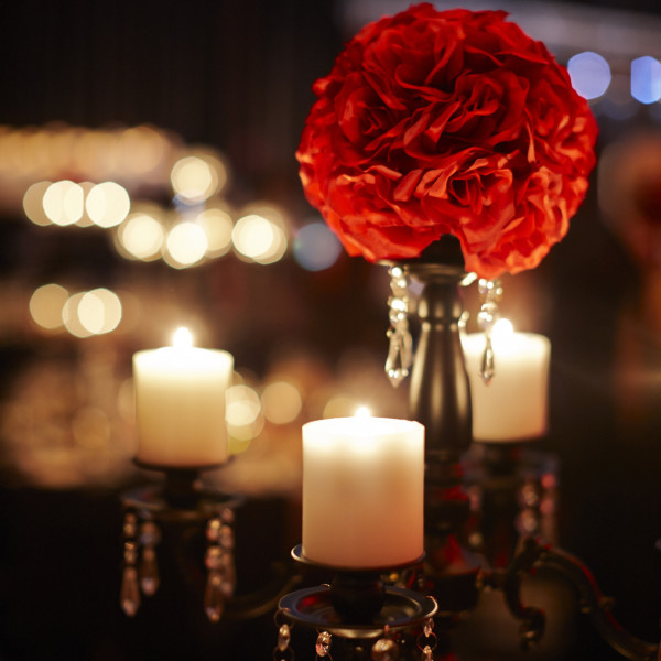 Red artificial flower ball