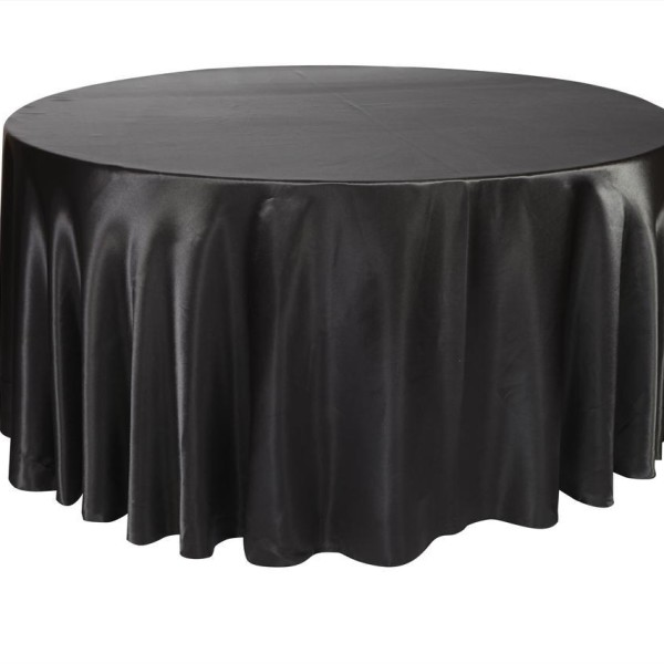 Round Black Satin Tablecloth 3m x 3m