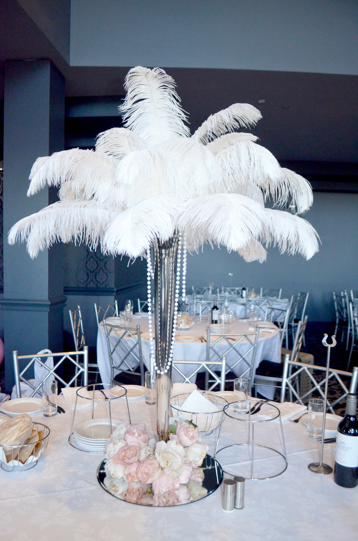 Silver Vase With White Ostrich Feathers And Artificial