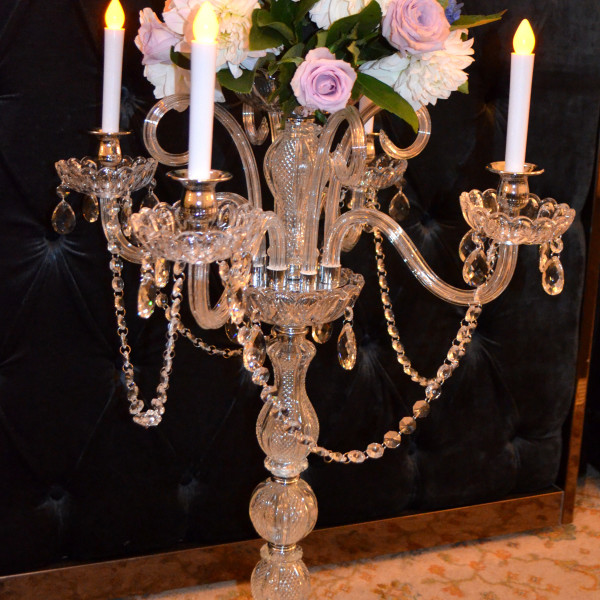 Vintage crystal 5 arm candelabra with fresh flower arrangement