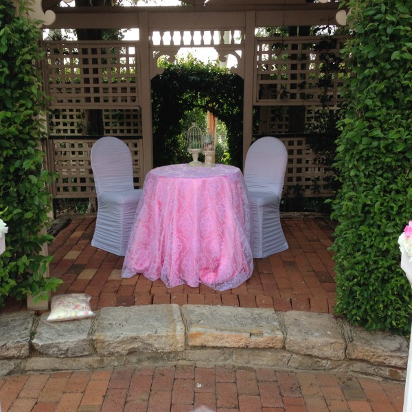 White Damask Sheer Table Overlay