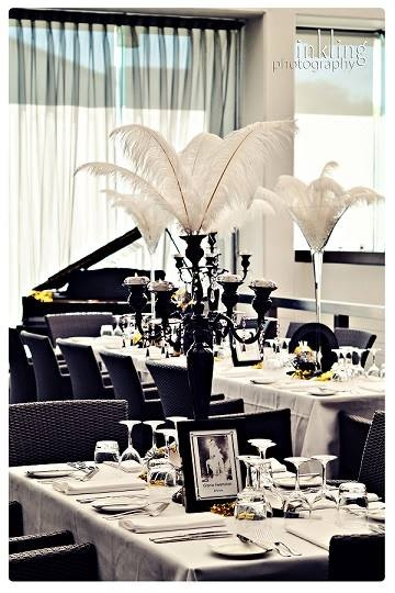 White Ostrich Feathers on 5 arm Black Candelabra 1