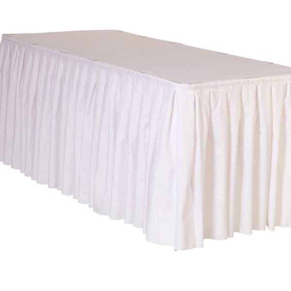 White Pleated Polyester Table Skirting