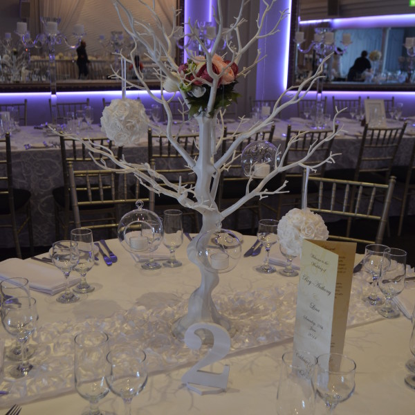 White manzanita tree with white rose foam balls