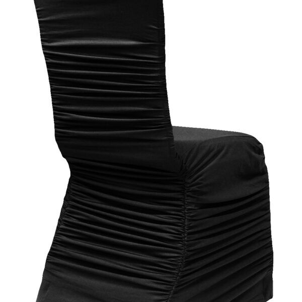 Spandex-RuchedChairCover-Black